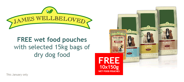 Free Wet Food Pouches with James Wellbeloved