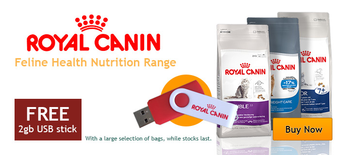 Free USB stick with all Royal Canin Feline Health Nutrition