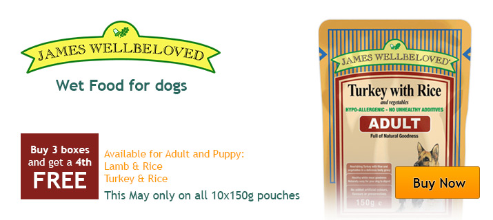 James Wellbeloved wet dog food, buy 3, get the 4th free