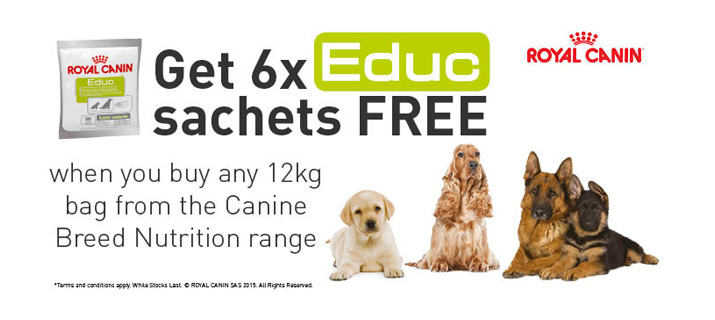 Get 6x packs of EDUC FREE with Royal Canin Breed Health Nutrition!