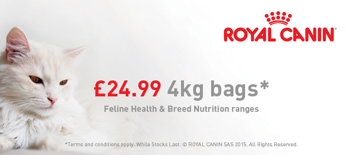 Selected 4kg bags of Royal Canin only £24.99