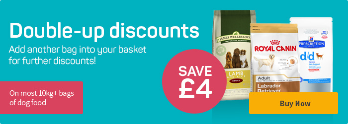 Double-up and save £4 on most 10kg+ bags of dog food!