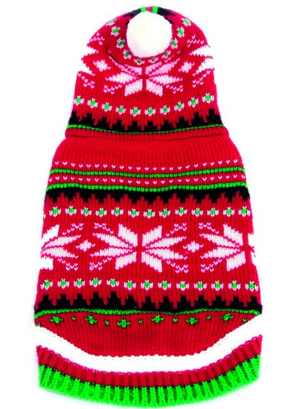 Animate Red Hooded Snowflake Xmas Jumper