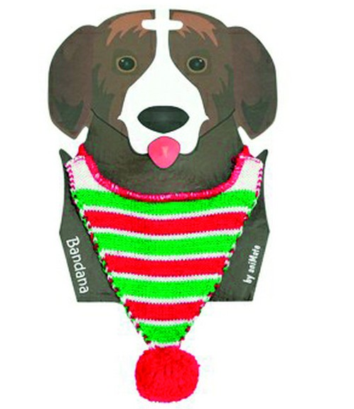Animated Christmas Bandana Neckerchief Green Stripe