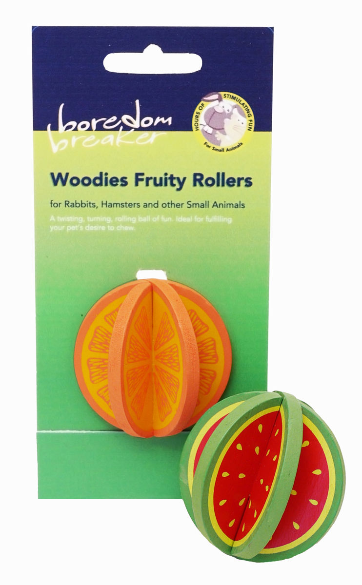 Boredom Breaker Woodies Fruity Roller for Small Animals