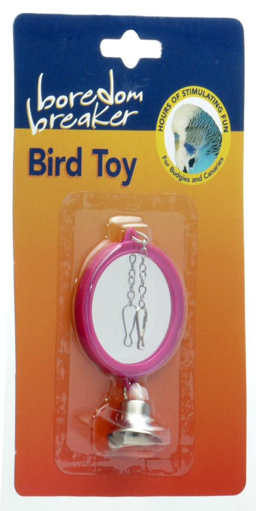 Boredom Breaker Double Mirror With Bell Bird Toy