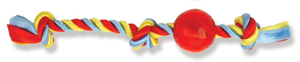 James & Steel Float Rope Three Knot Tug With Ball Dog Toy