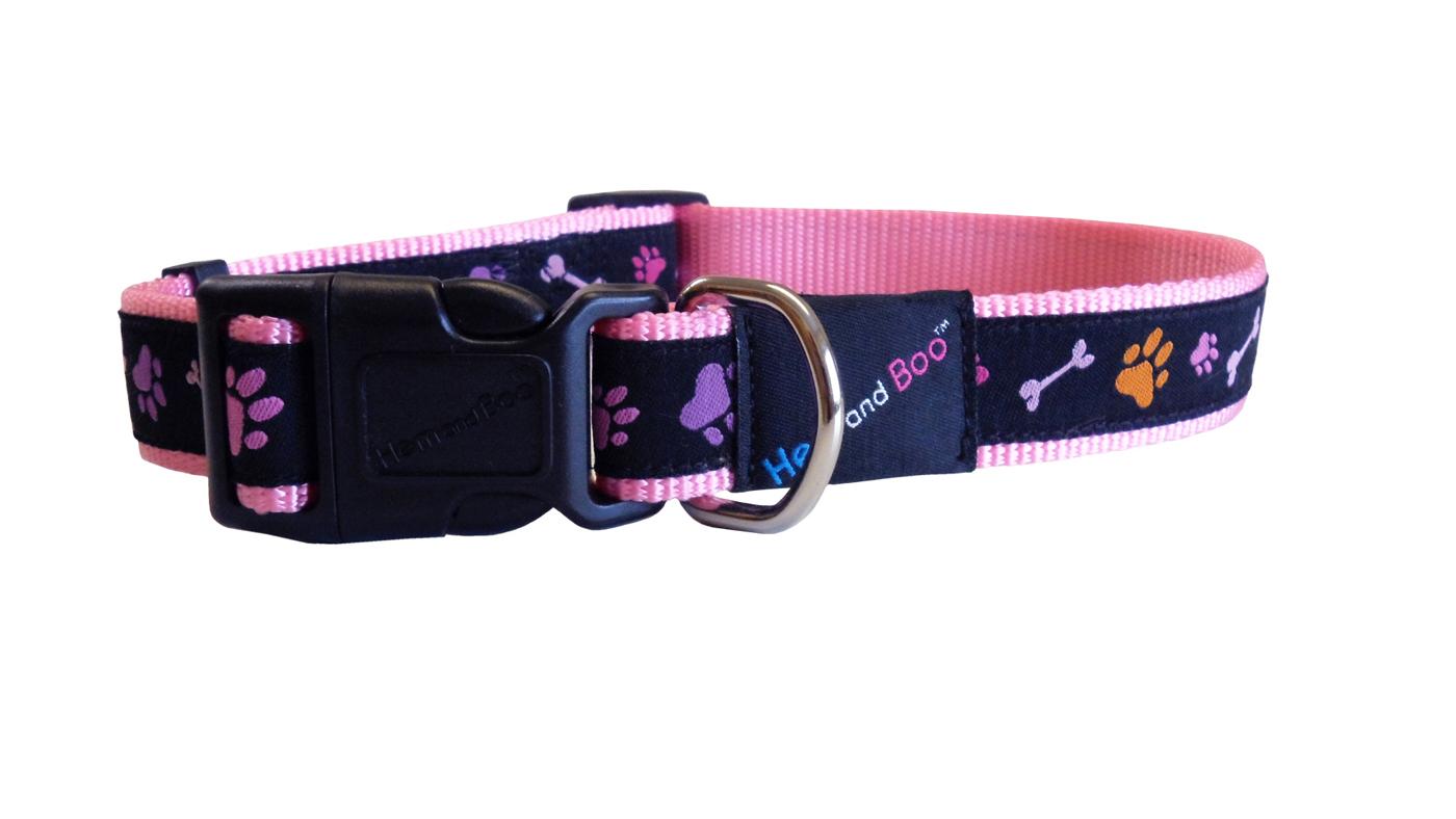 The hem amp boo fashion range of dog collars combine bright colourful