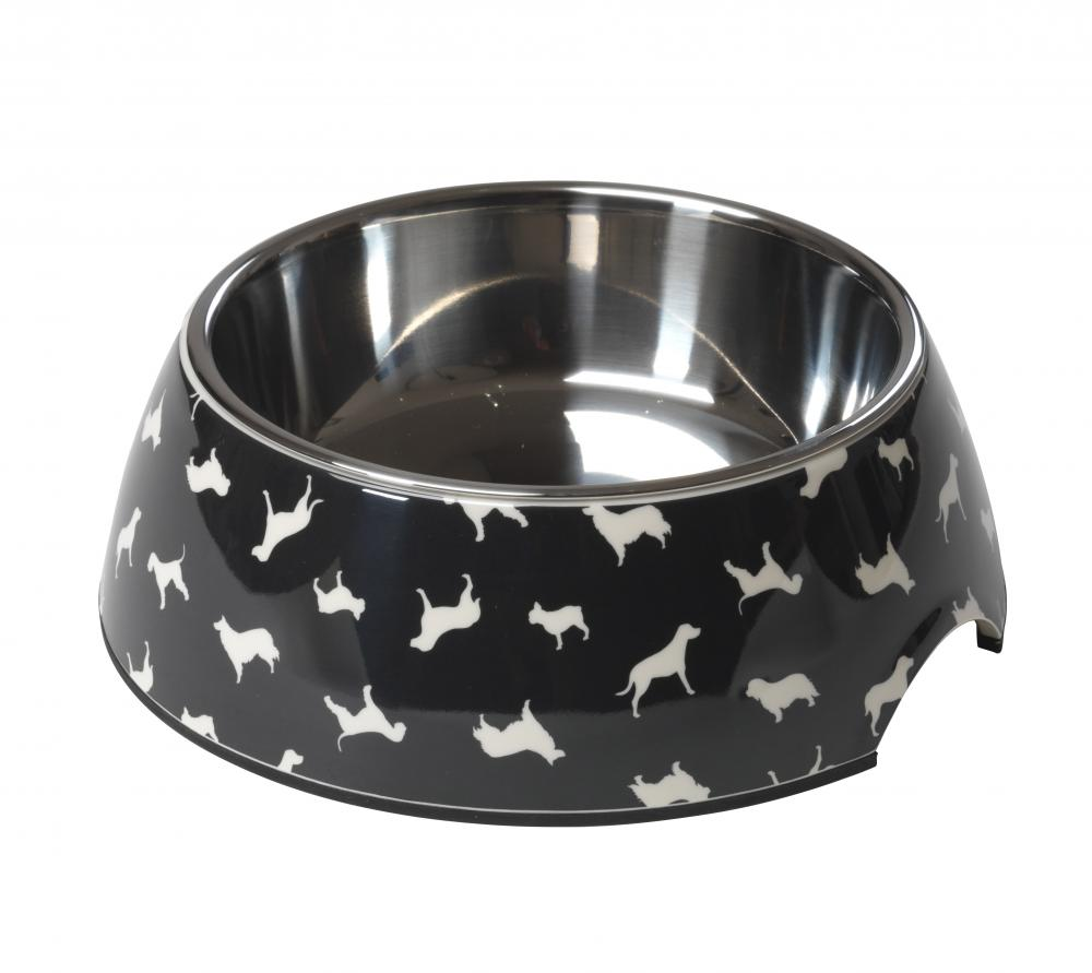 House of Paws Breed Print Black Dog Bowl