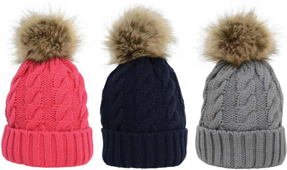 HyFASHION Melrose Cable Knit Bobble Hat 0a57b0fcecb