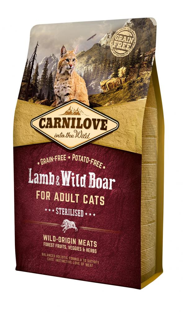 CARNILOVE Lamb & Wild Boar for Adult Cats – Sterilised