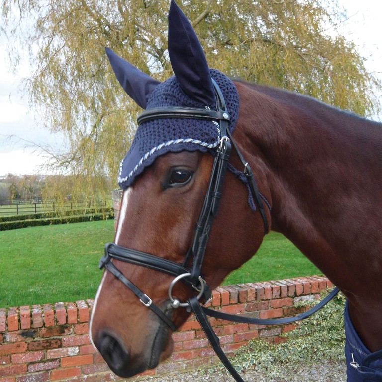 Crochet Fly Veil Ears /& Fringe LARGE HORSE Size Black White