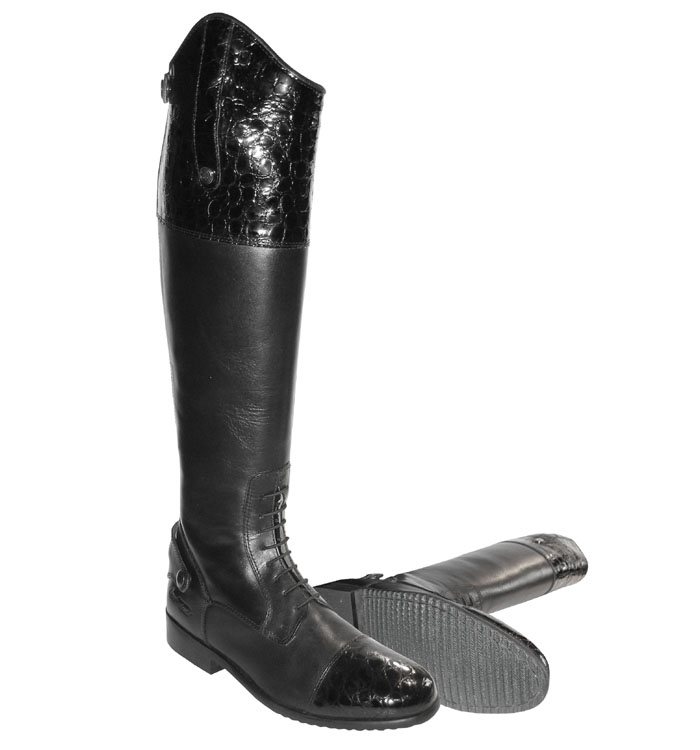 Mark Todd Crocodile Patent Long Leather Competition Boots