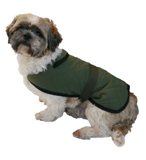 Options Green Quilted Water Resist Dog Coat