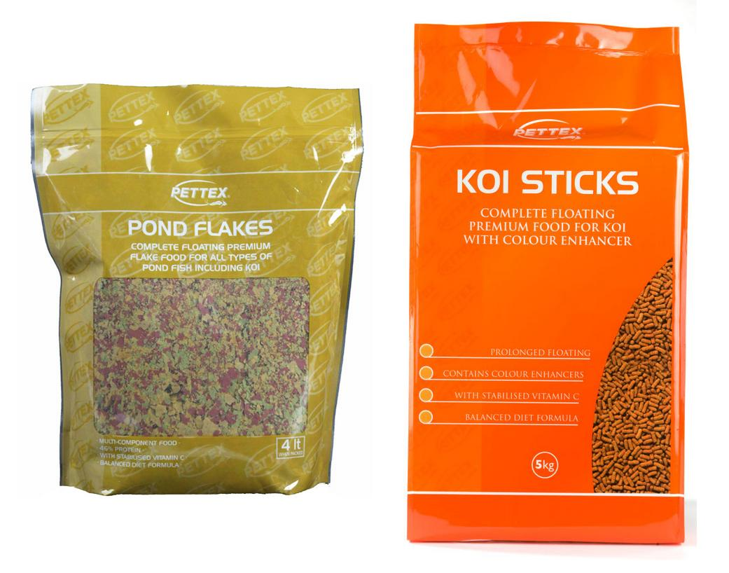 Pettex pond fish foods for Koi pond size requirements