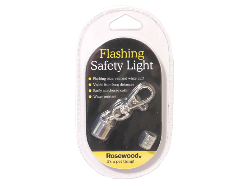 Rosewood Dog Collar Safety Flashing Light