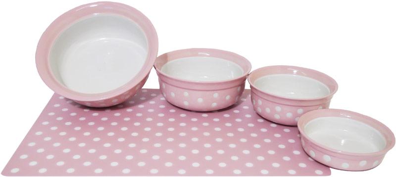 Rosewood Pink Polka Dot Bowl Amp Placemat