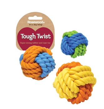 Rosewood Tough Twist Rubber & Rope Ball Dog Toy