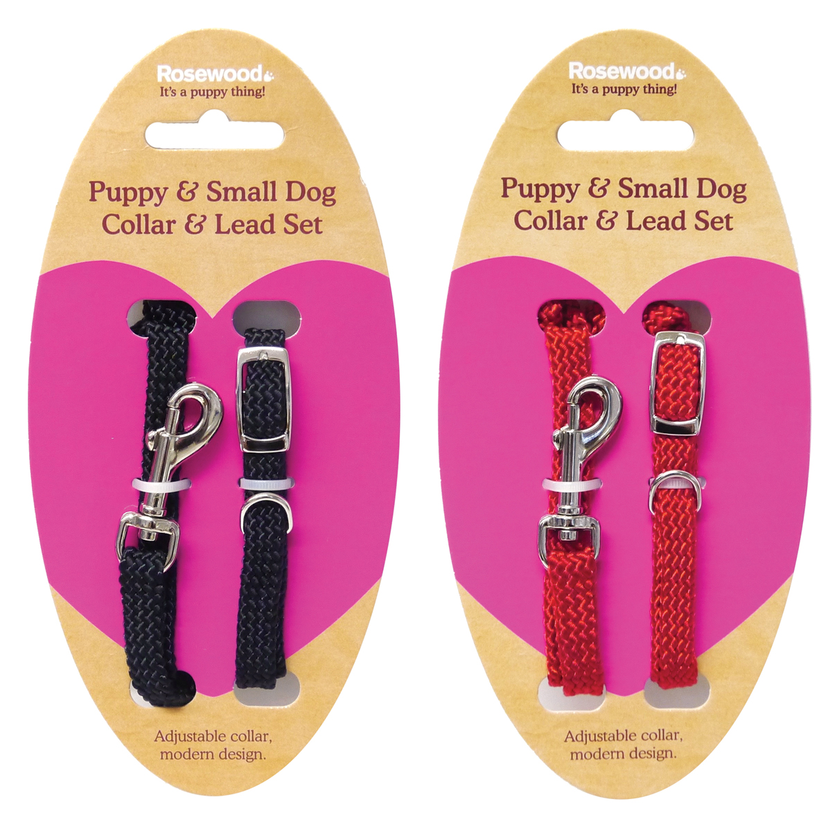 Rosewood Soft Weave Dog Collar & Lead Set