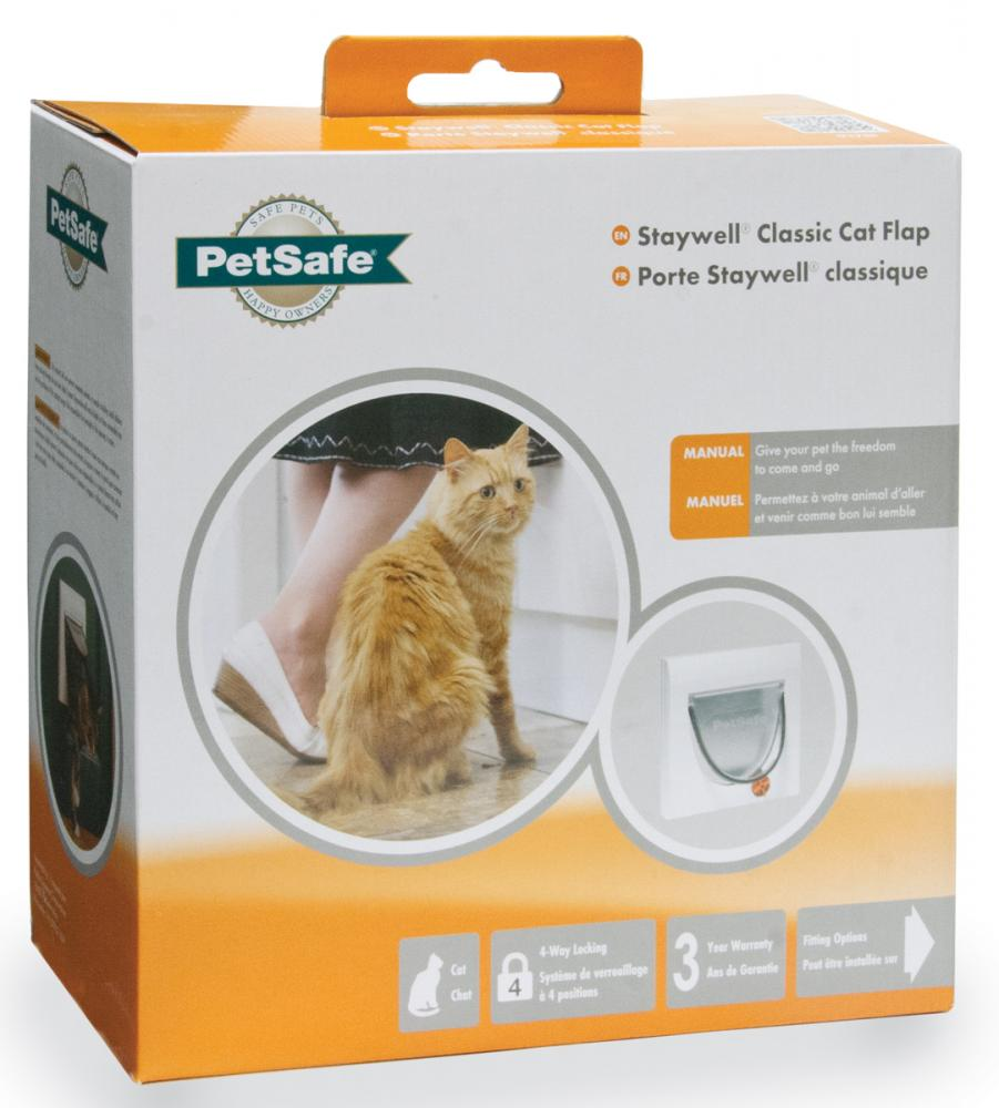 Staywell Classic Manual 4 Way Locking Cat Flap with White Tunnel
