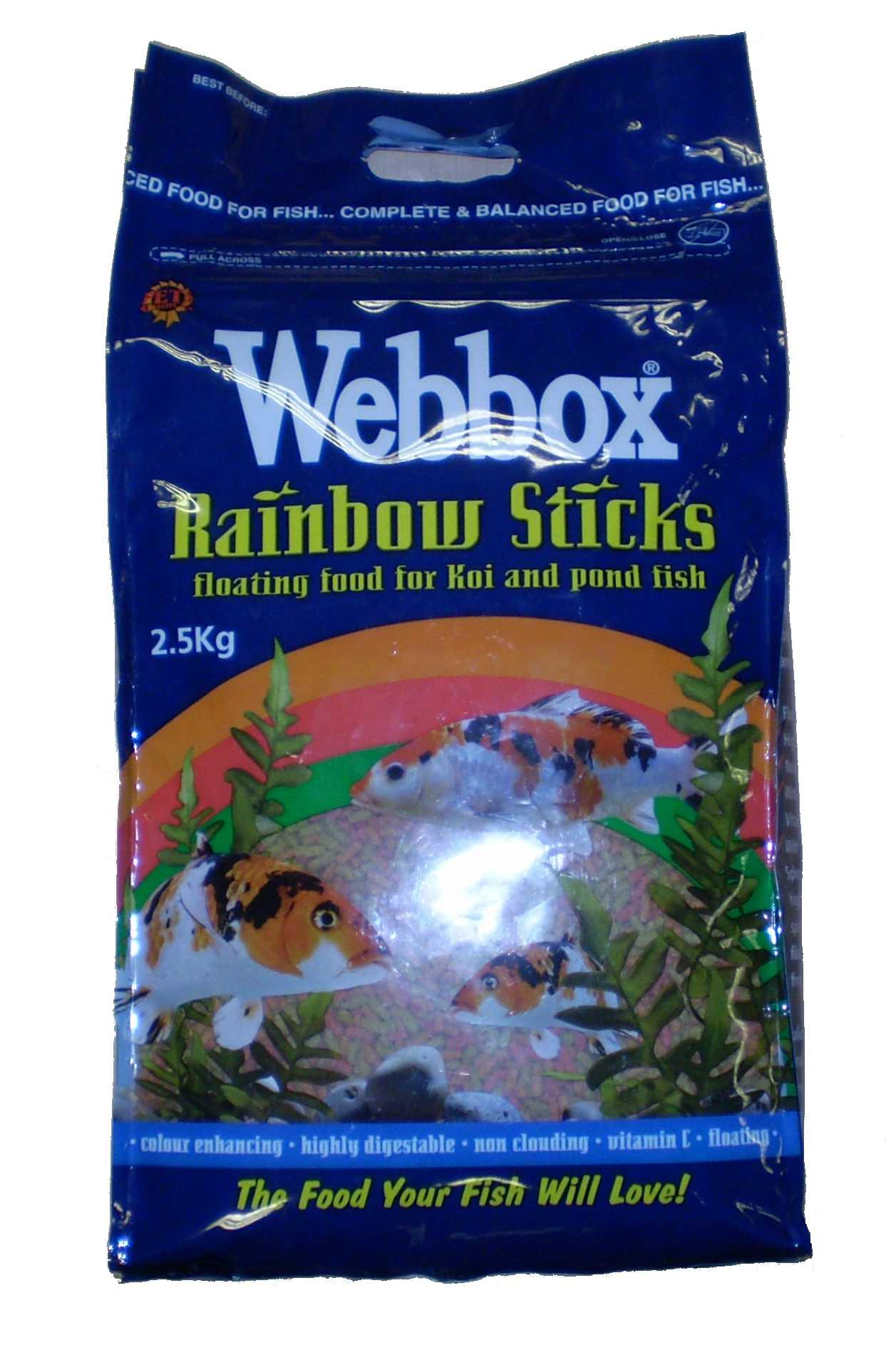 Webbox rainbow sticks floating pond food for fresh water for Koi pond sticks