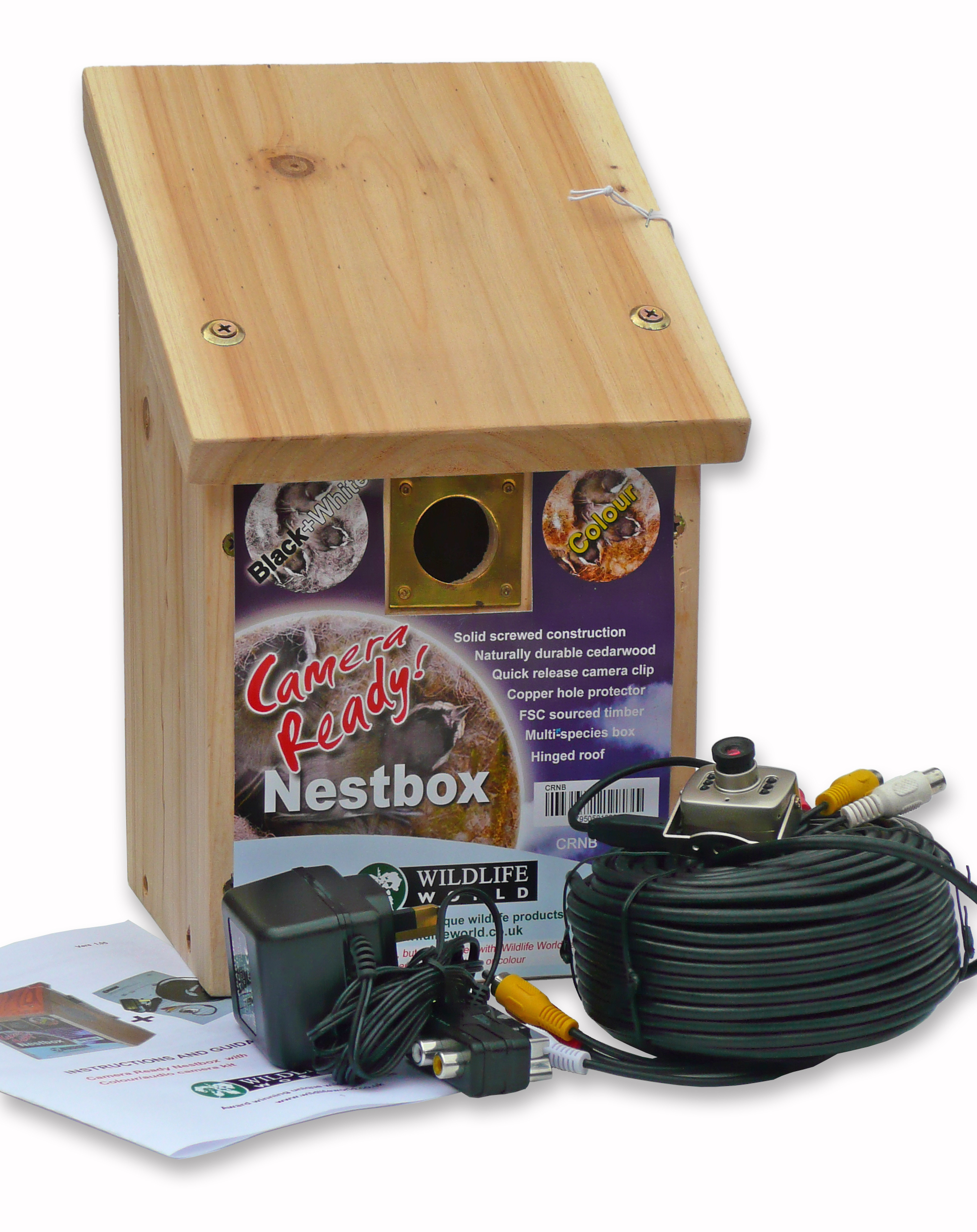 Wildlife World Nest Box With Colour Camera Kit