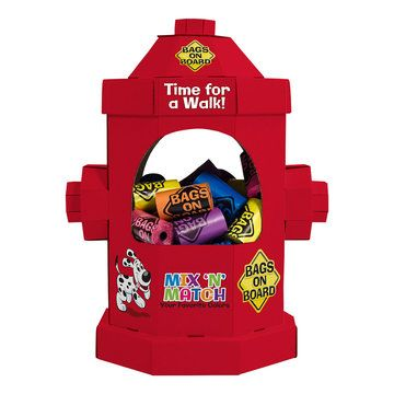 Bags On Board Fire Hydrant Poop Bag Counter Display Dispenser