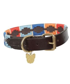 Digby & Fox Drover Polo Dog Collar Turquoise/Red/Orange/Blue