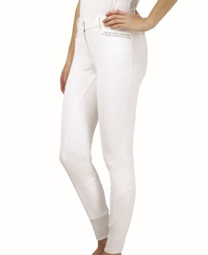 Hy Equestrian Roka Rose Breeches White with Navy/Rose Gold Diamantes