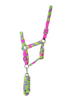 Hy Multicolour Adjustable Head Collar with Lead Rope