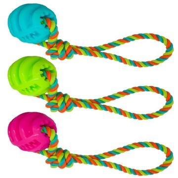 James & Steel TPR Ball on Cotton Rope Dog Toy