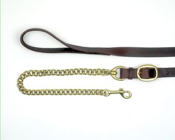 Mackey Classic Leather Lead with Chain