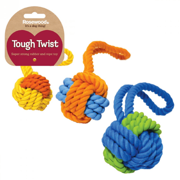 Rosewood Tough Twist Rubber & Rope Ball Tug Dog Toy