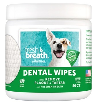 TropiClean Fresh Breath Dental Wipes for Dogs