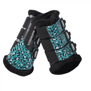WeatherBeeta Brushing Boots Leopard Print Turquoise