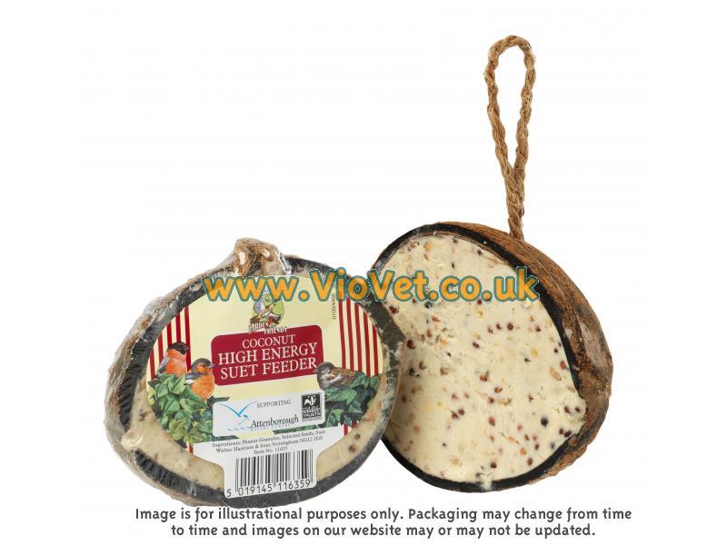 Walter harrison 39 s coconut suet wild bird feeder for Whole coconut bird feeders