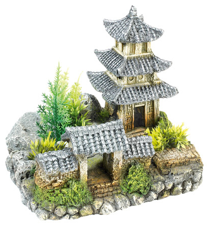 Asian Temple With Plants » 19cm